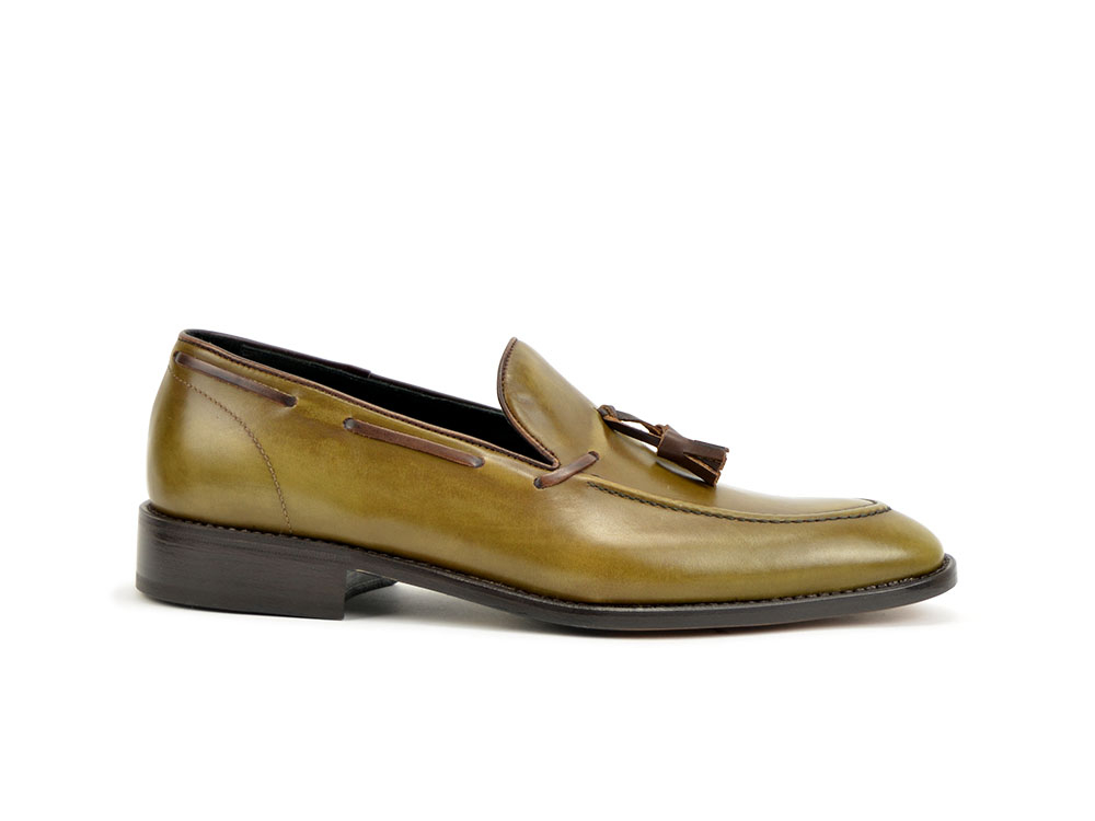 olive deco tassel loafer