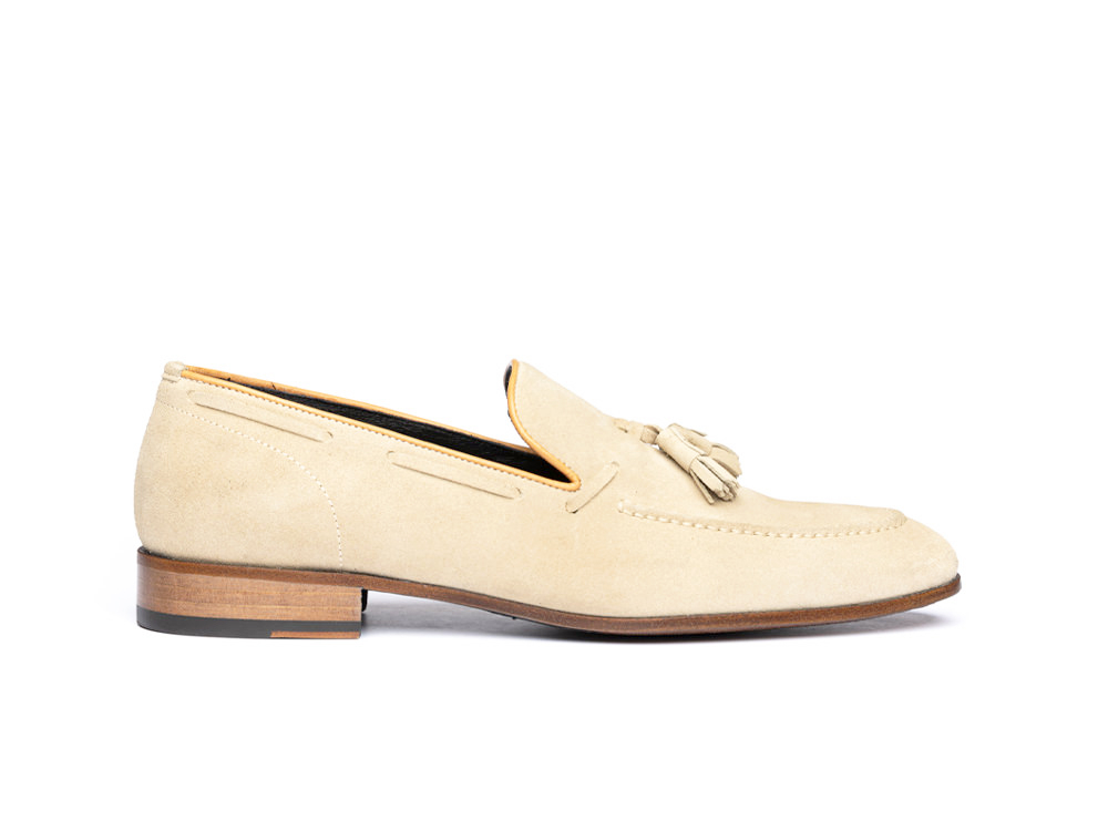 sand suede leather men tassel loafer