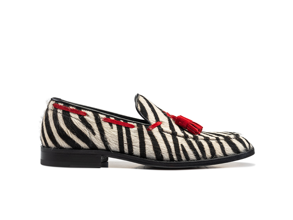 white zebra hairy leather men tassel loafer