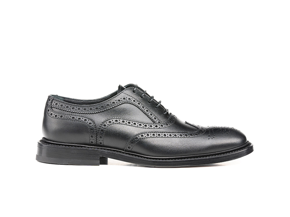 black calf leather woman oxford wing brogue