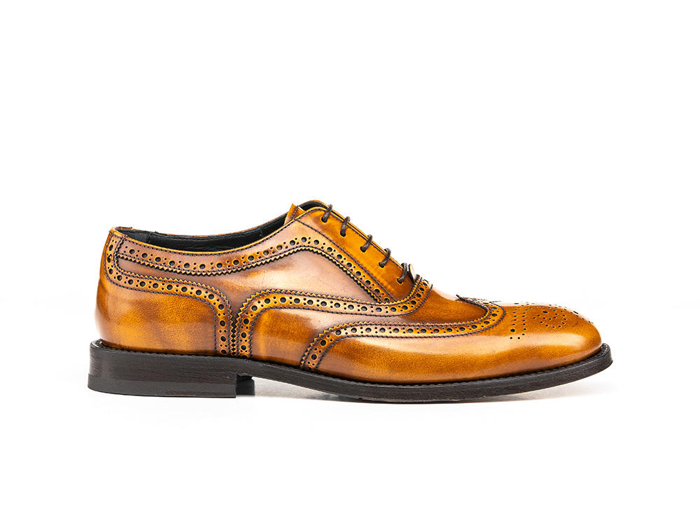 tan polished leather woman oxford wing brogue