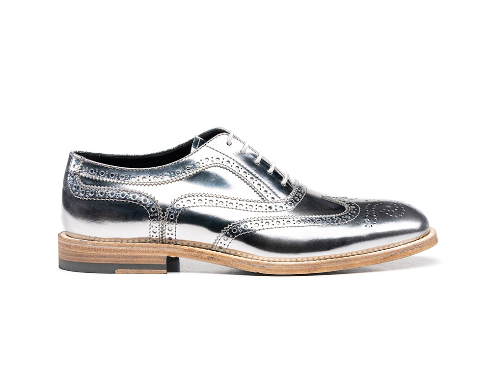 laminated silver shiny leather woman oxford