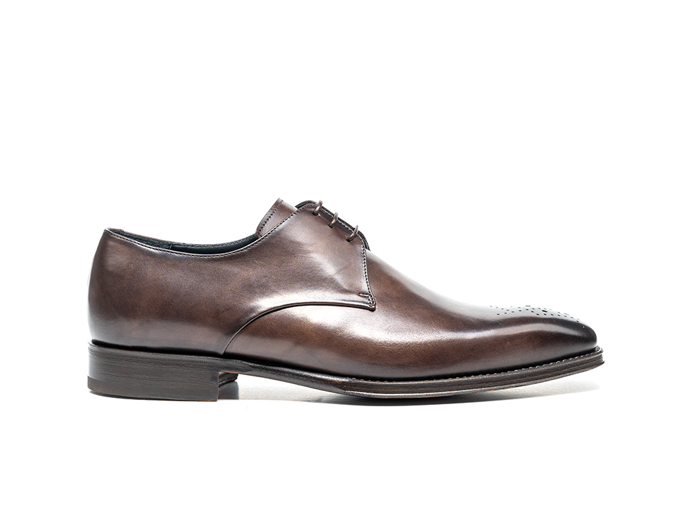 coffee calf crust leather men derby punch