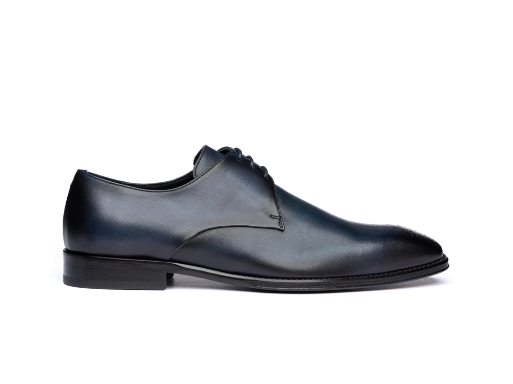 navy calf crust leather men derby punch