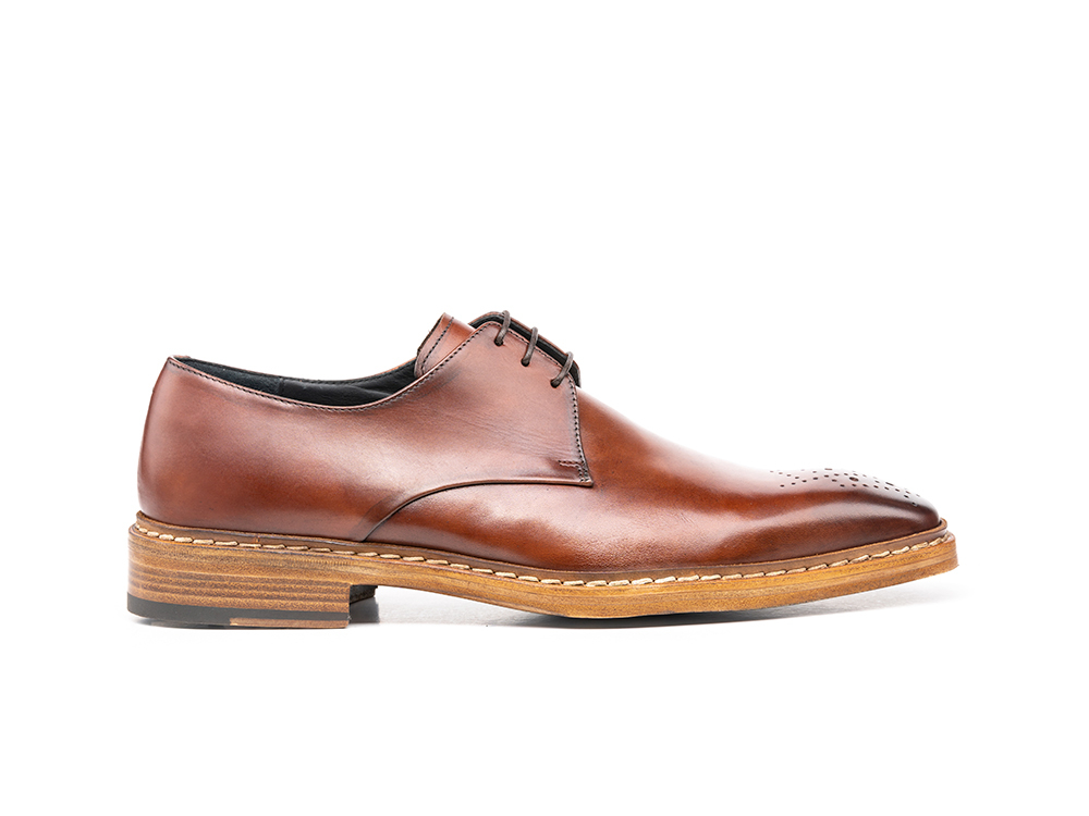 brown calf crust leather men derby punch