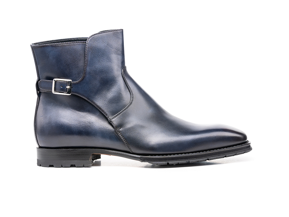 navy calf crust leather men buckle boot