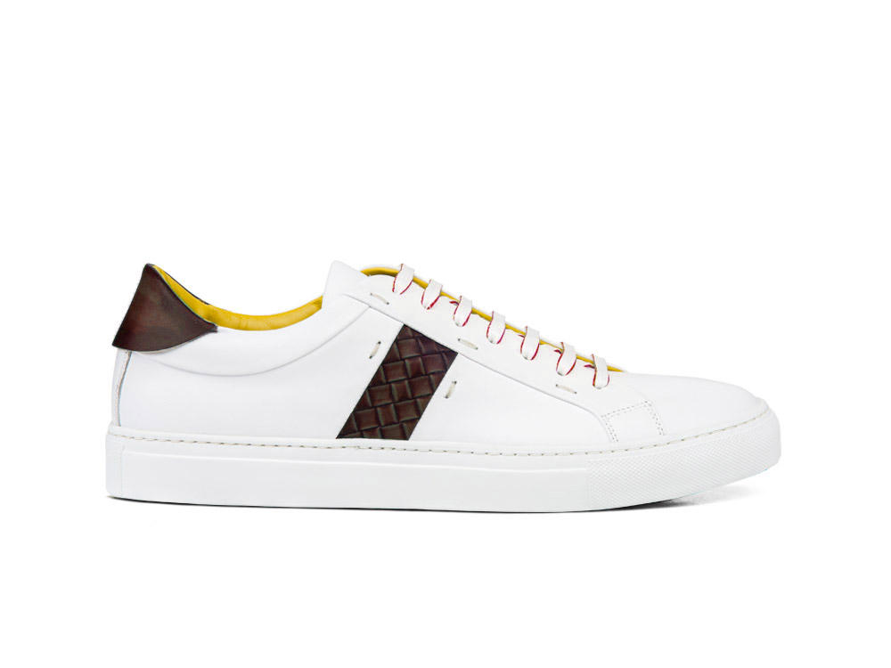 low top white calf coffee deco leather sneakers