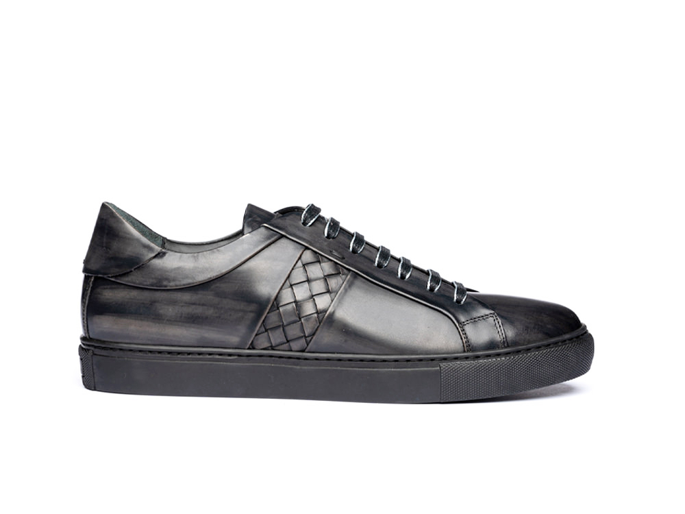 low top dark grey deco leather sneakers