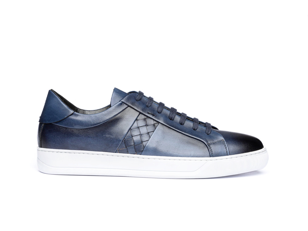 low top navy deco leather sneakers