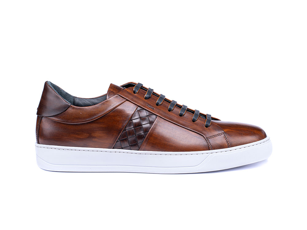 low top coffee deco leather sneakers