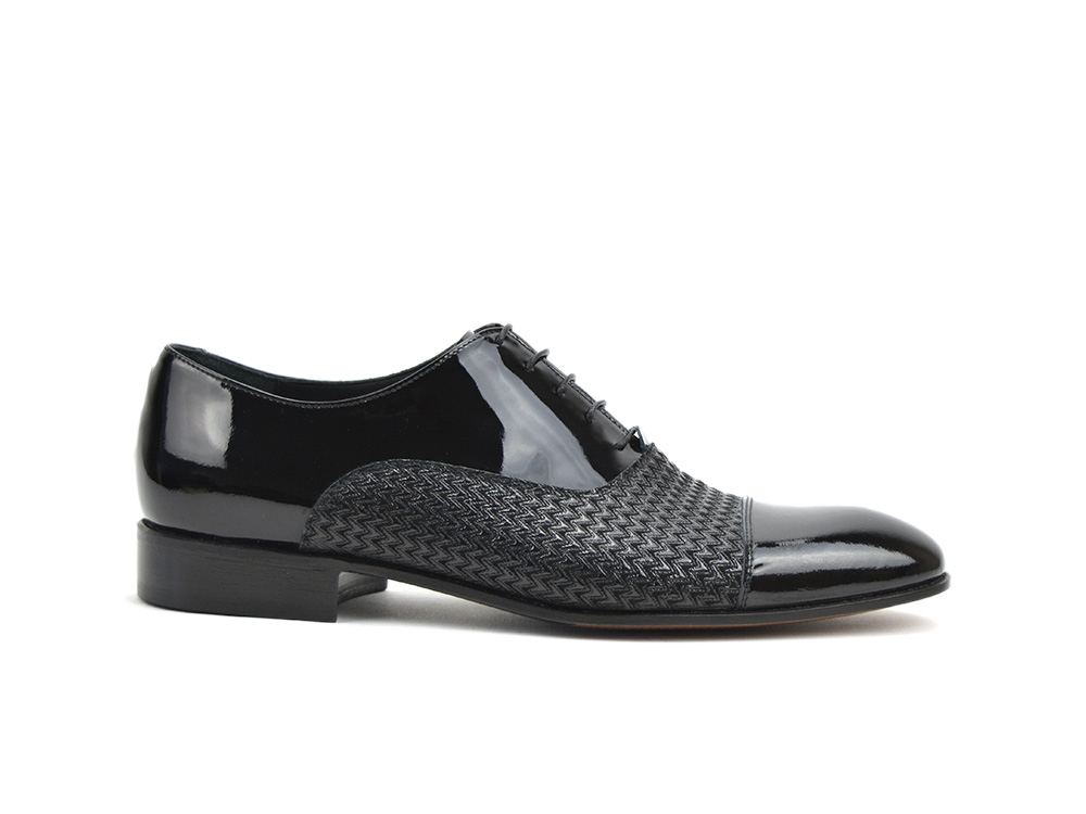 black shiny oxford