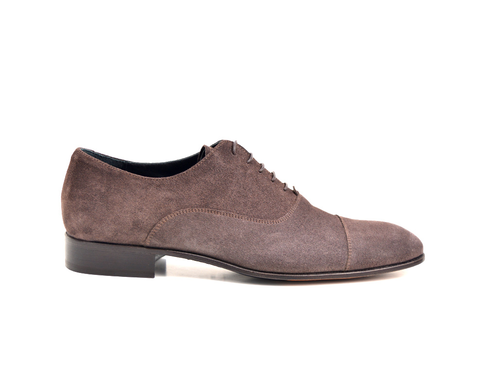 coffee suede leather men oxford toe cap