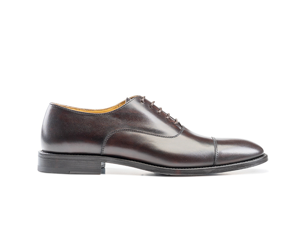 coffee decò leather men oxford toe cap