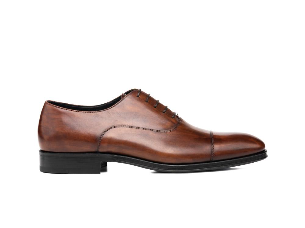 brown decò leather men oxford toe cap