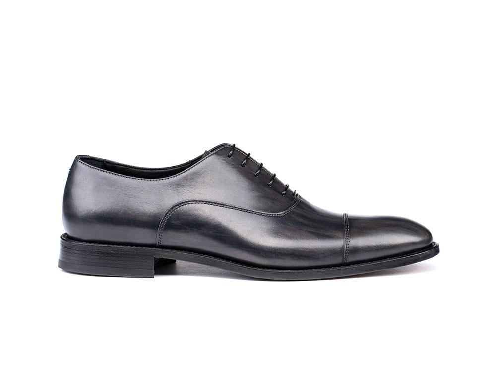 grey deco leather men oxford toe cap