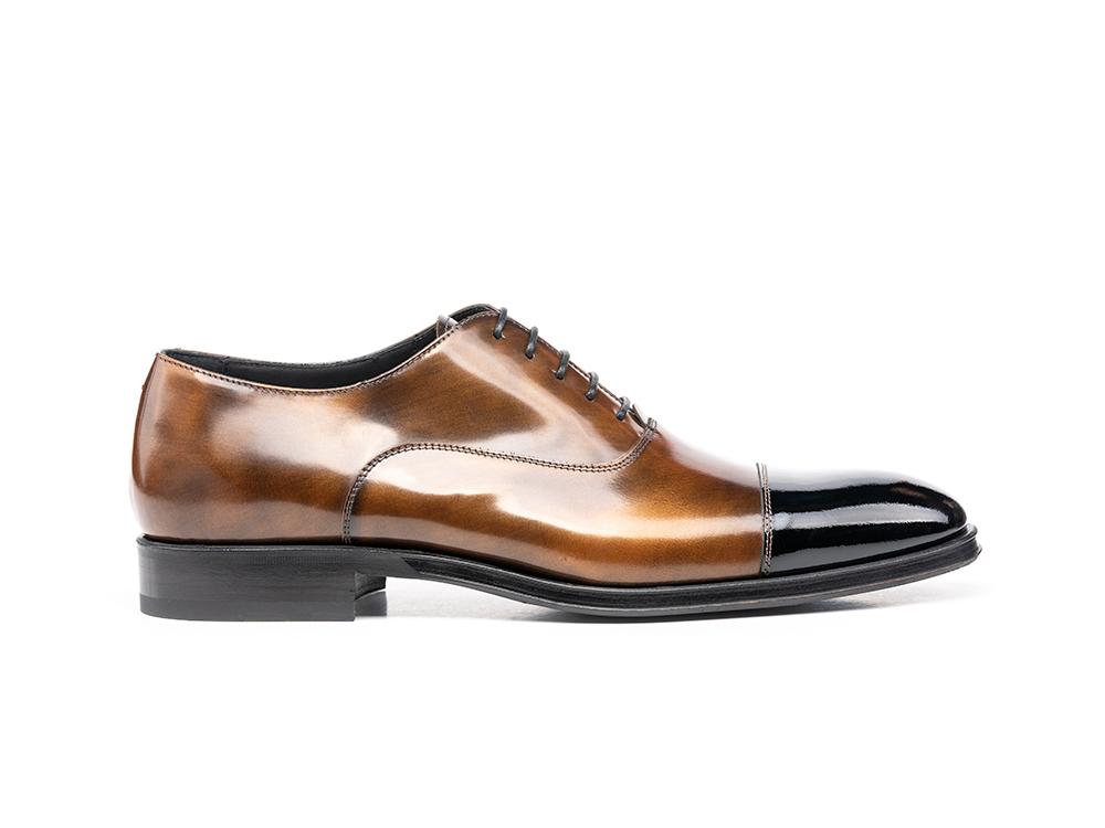 bronze polished shiny black leather men oxford toe cap