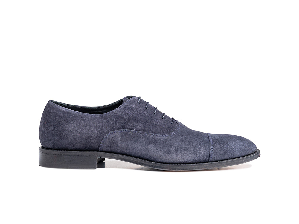 navy suede leather men oxford toe cap