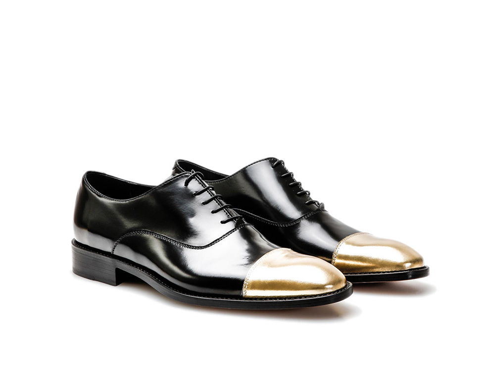 c01fc1f90 Black Gold Calf Leather Men Oxford Toe Cap