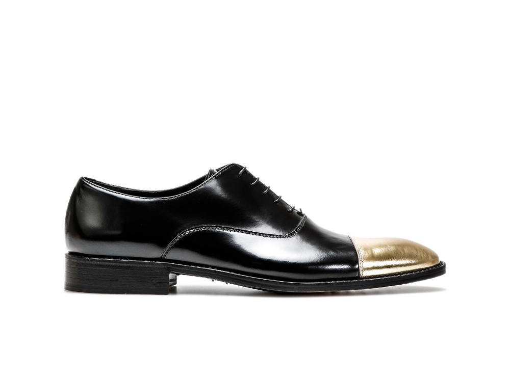 black gold calf leather men oxford toe cap