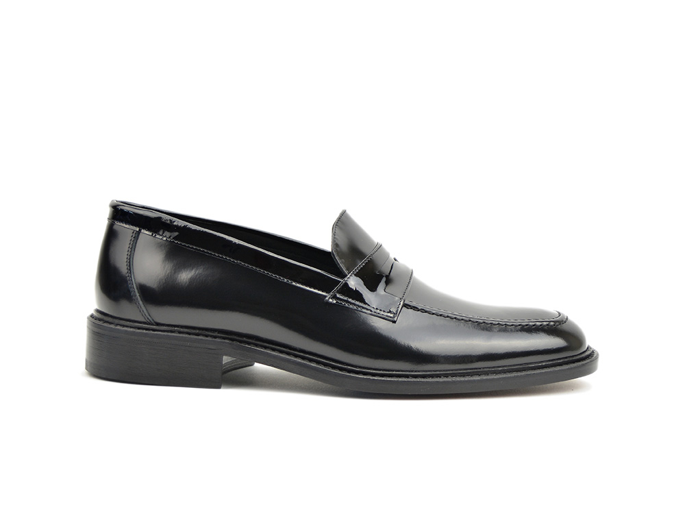shiny black penny loafer