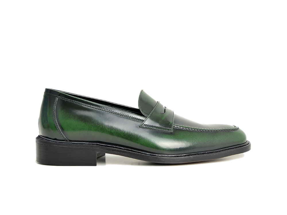 polished green penny loafer