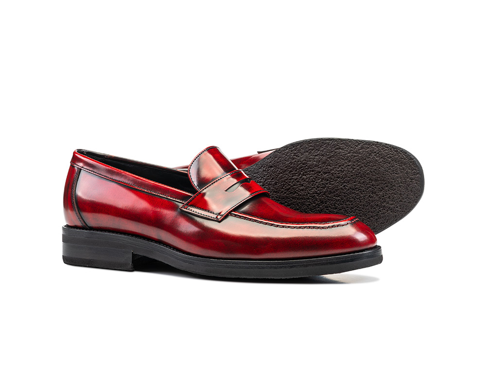 red polished penny loafer