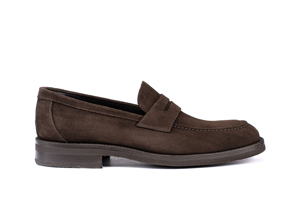 coffee suede penny loafer