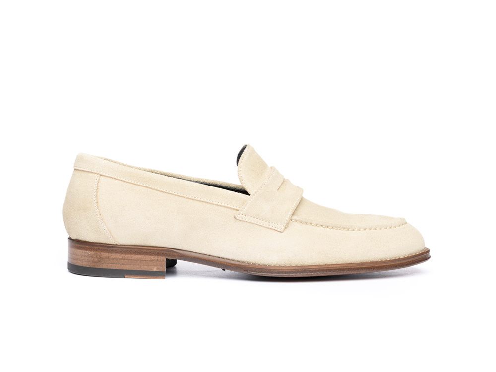 sand suede penny loafer