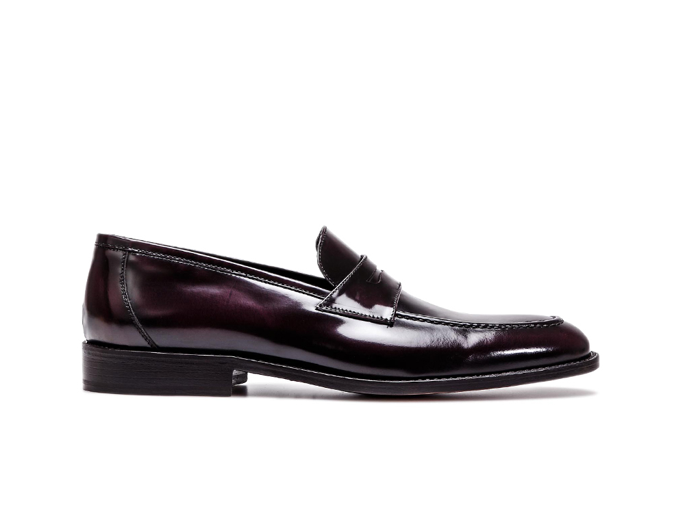 violet polished leather men mocassin