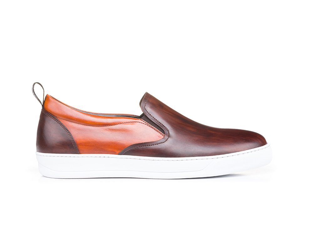 deco tan coffee slip on sneakers