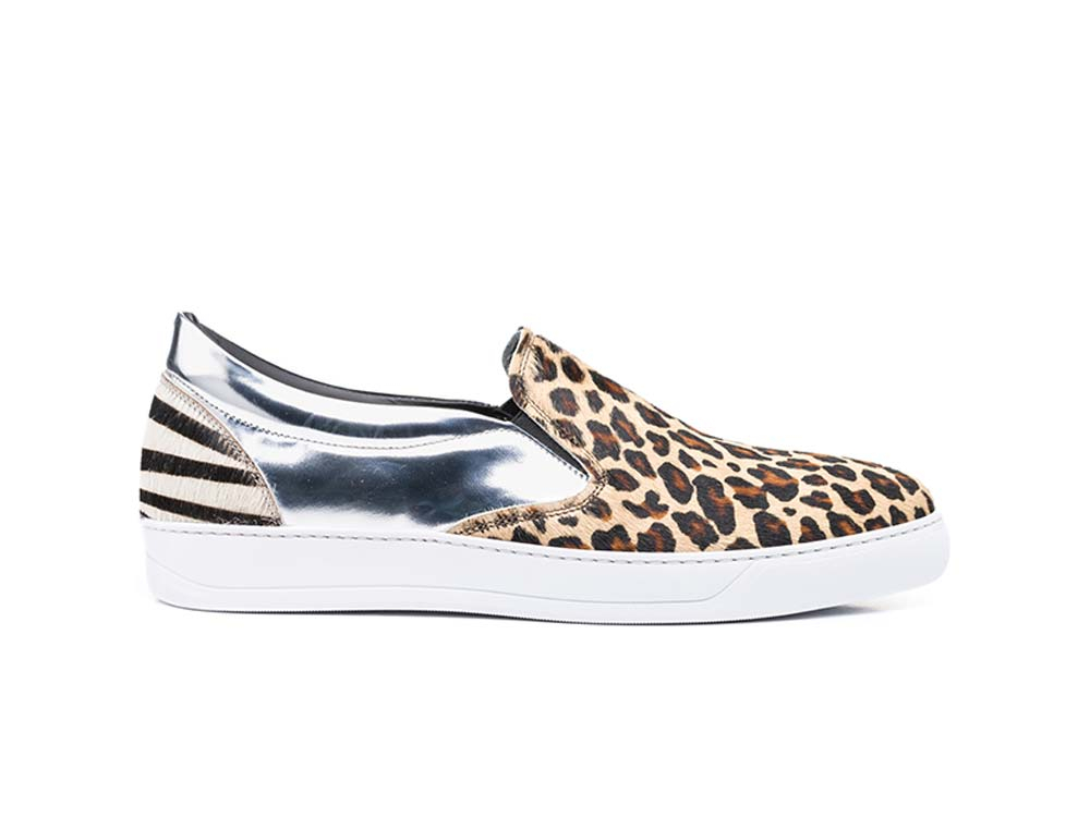 lynx brown shiny laminated silver slip on sneakers