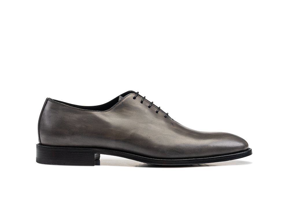 grey decò leather men oxford plain