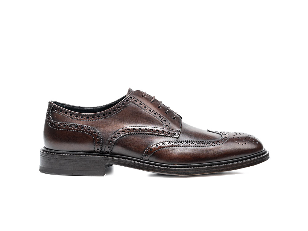 coffee deco leather men derby wing brogue