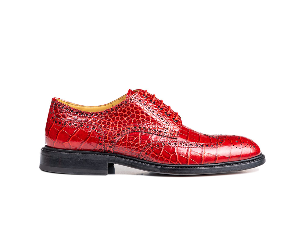 red crocodile pattern leather men derby wing brogue