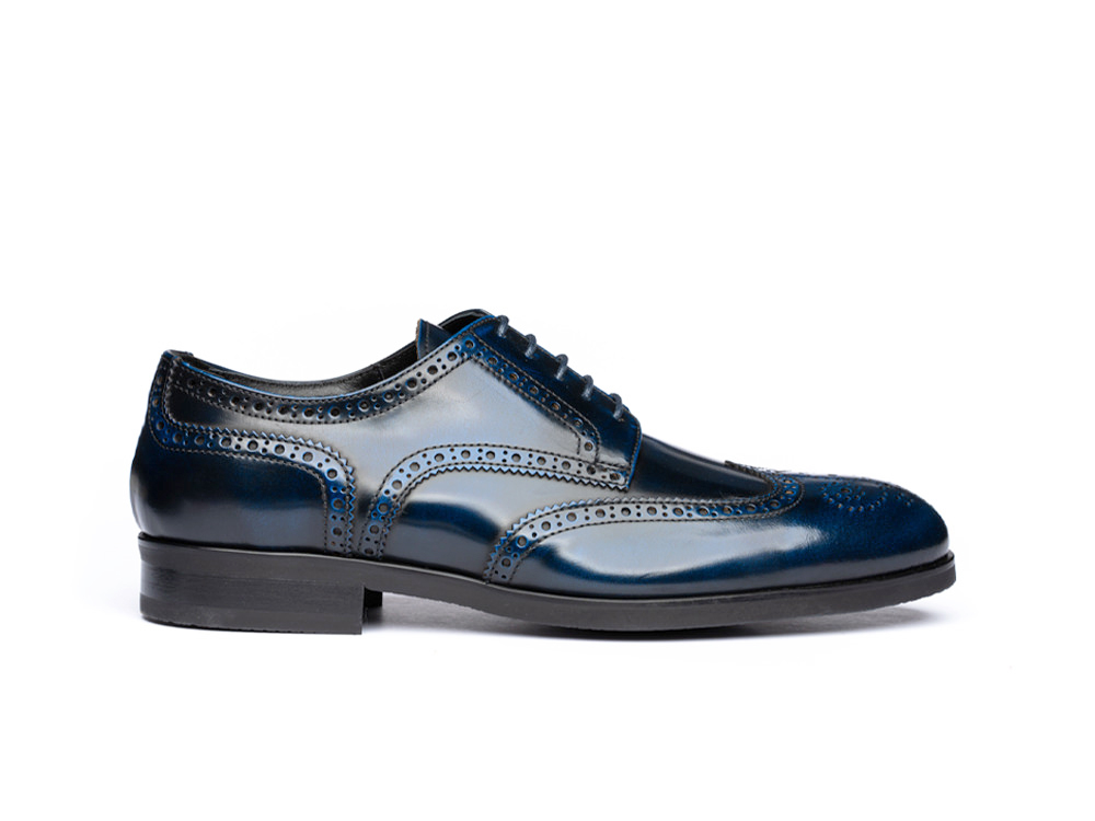 blue polished leather men derby wing brogue