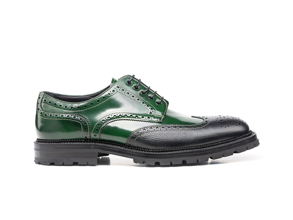 green polished leather grain black men derby wing brogue