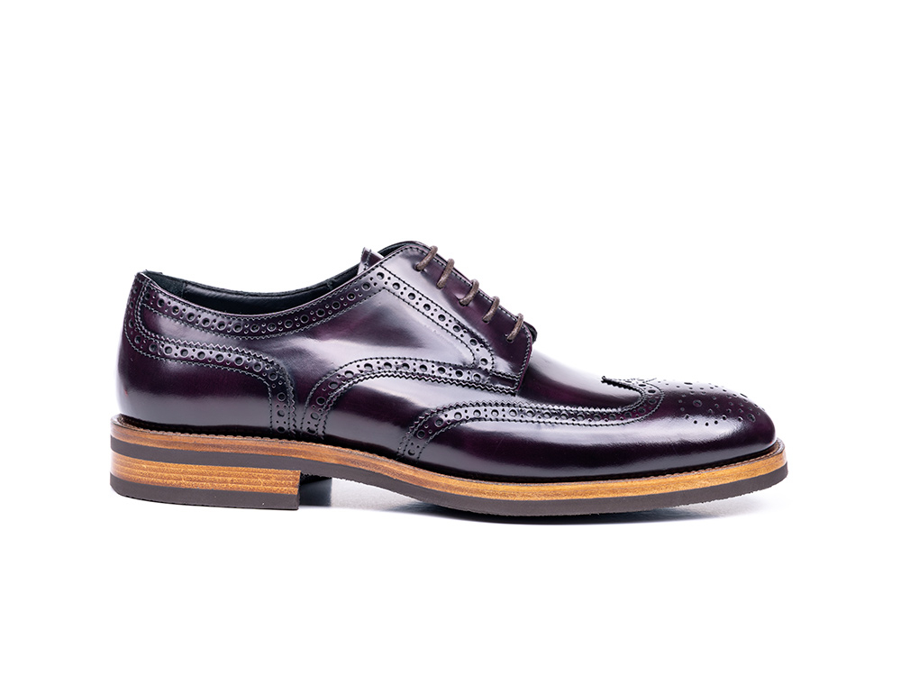 violet polished leather men derby wing brogue