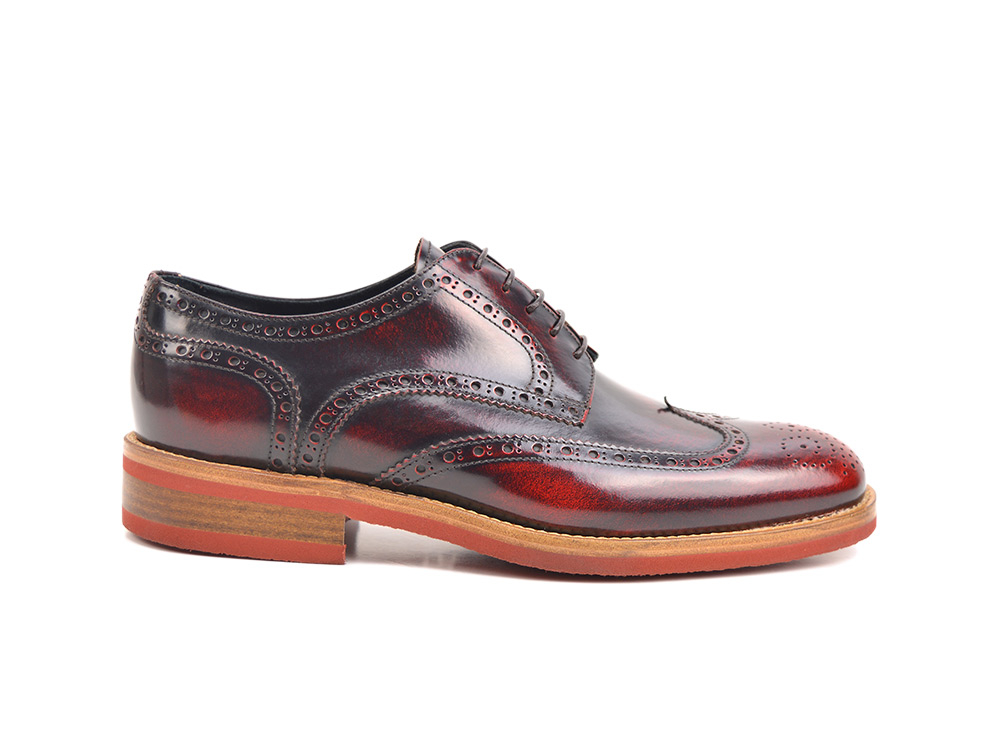 red polished leather men derby wing brogue