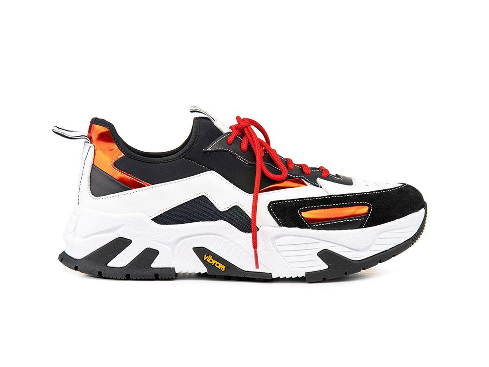 sneakers a calzino vitello bianco scamosciato nero