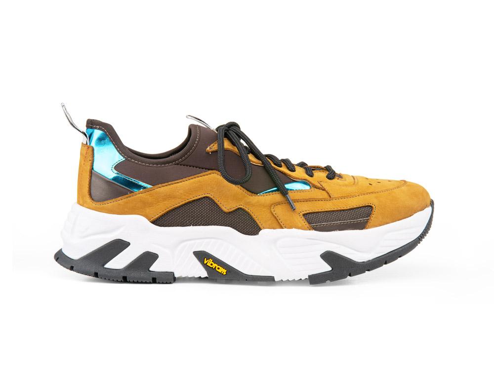 sneakers a calzino scamosciato marrone chiaro