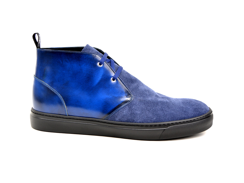 blue suede and blue polished sneaker