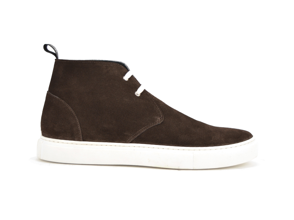 dark brown suede sneaker boot