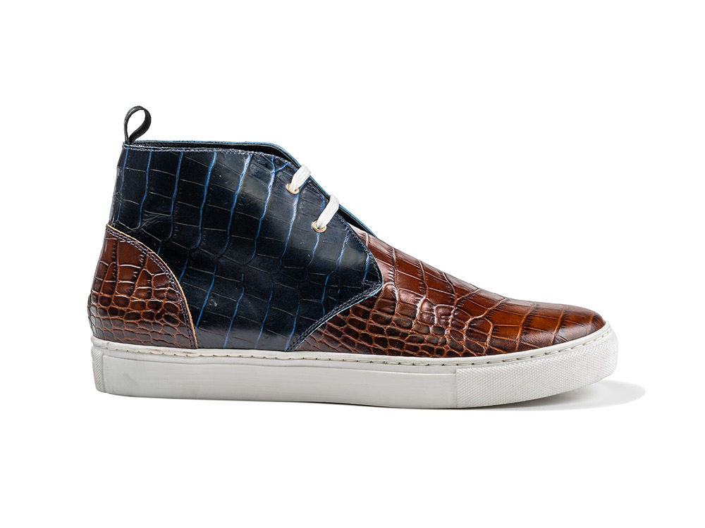 coffee navy crocolile pattern sneaker boot