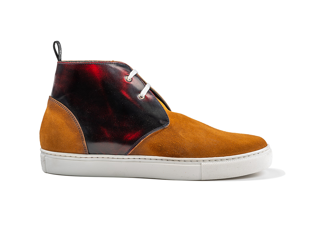 orange suede red polished sneaker boot