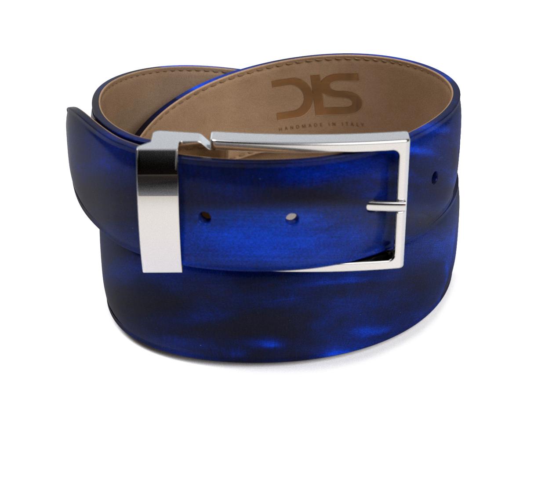 Cinta in pelle abrasivata blu con fibbia argentata