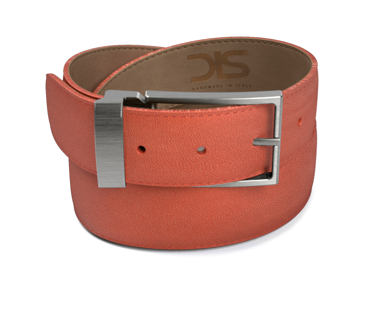 Tan grain leather belt with opaque buckle