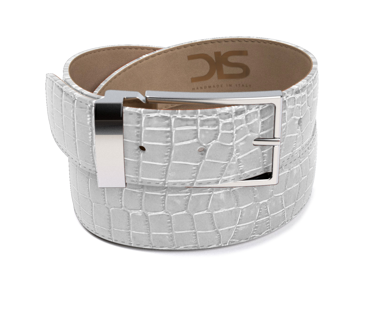 White crocodile leather belt with silver buckle