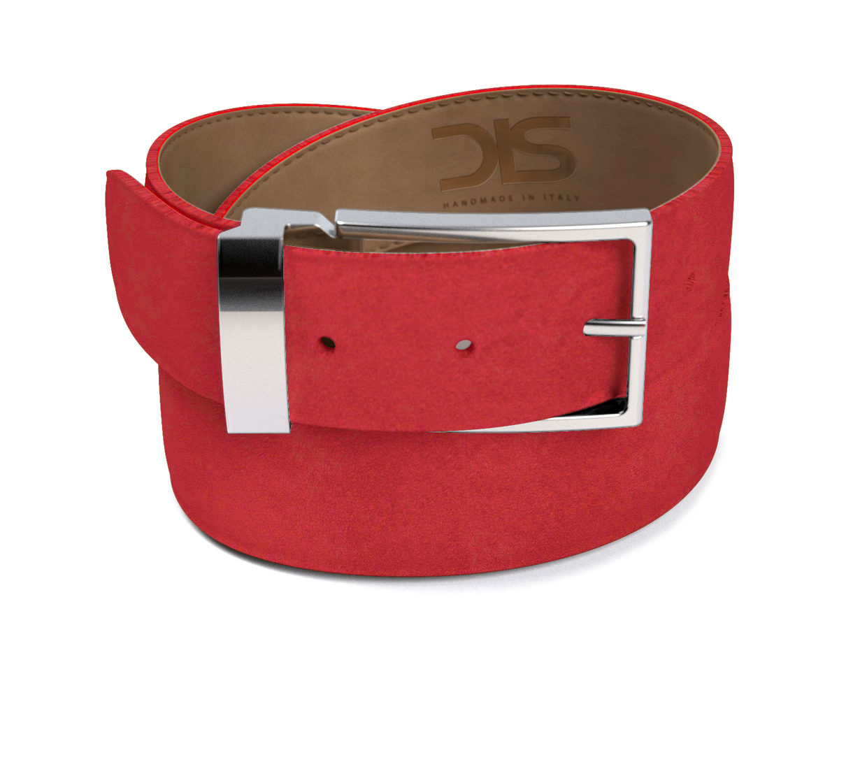 Red suede leather belt with silver buckle