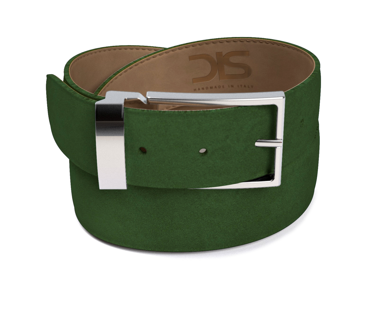 Green suede leather belt with silver buckle