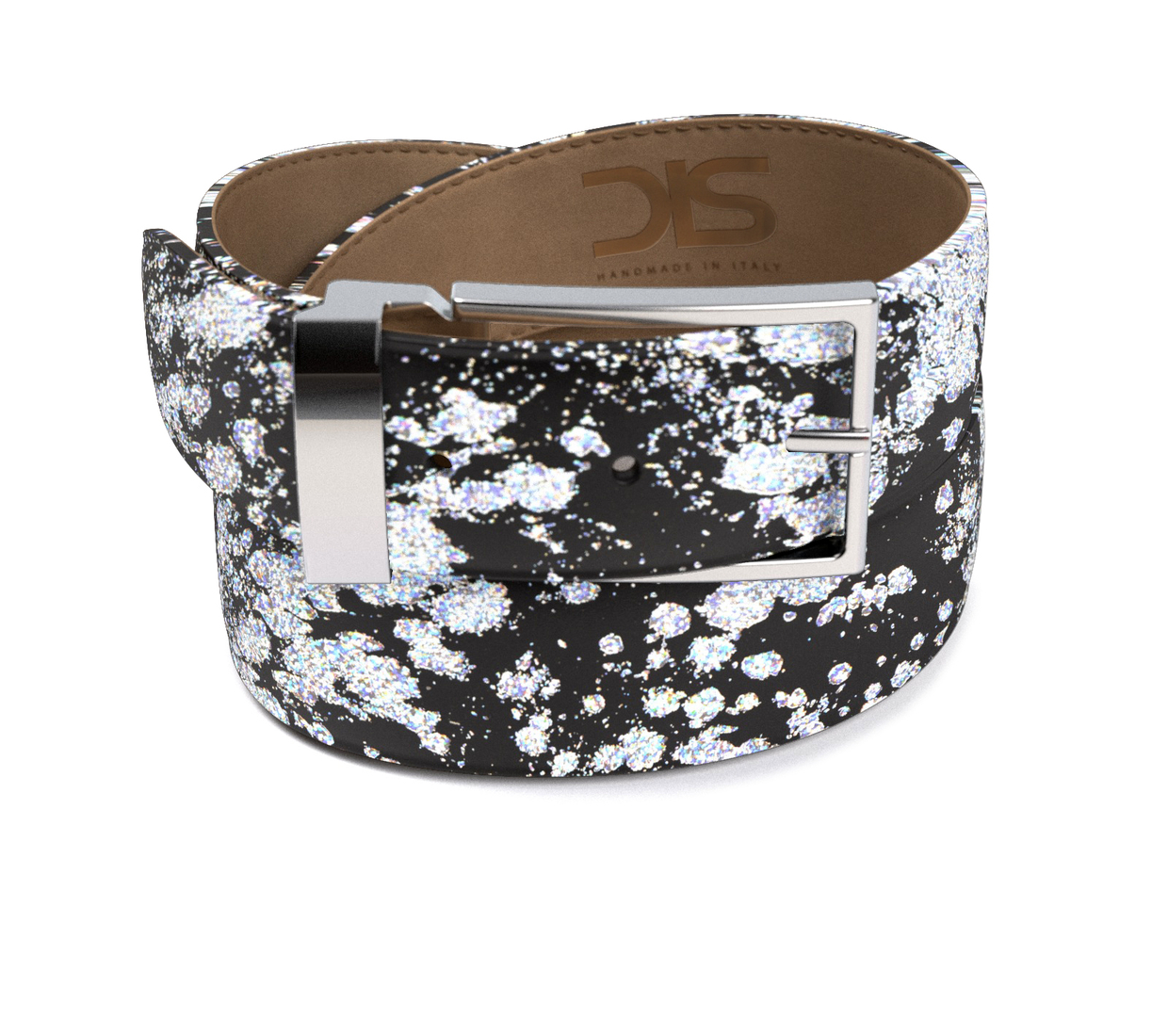 Pattern silver spray leather belt with silver buckle